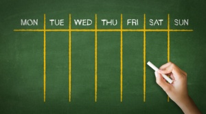 Weekly Calendar Chalk Drawing
